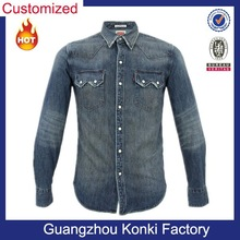 Mens stone washed long sleeve shirt with two chest pockets and snap button denim shirt