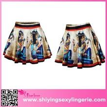 Roman Women Image 100% polyester print new fashion High-waisted Pleated Skirt ladies dress