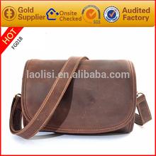Unique design fashion men leather shoulder bag crazy horse leather camera bag