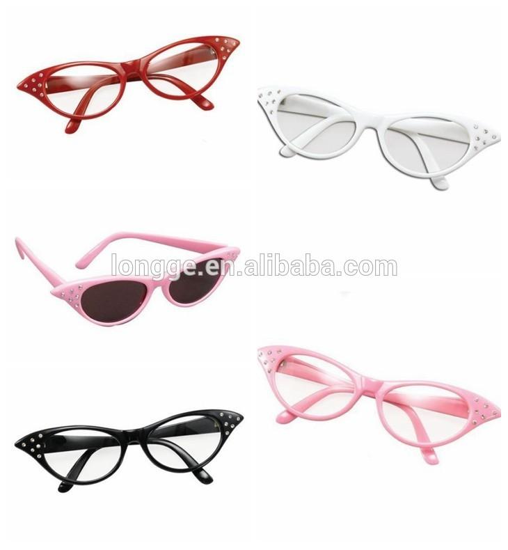 50s pink lady occhiali da sole costume costume tonalità con lenti colorate grasso