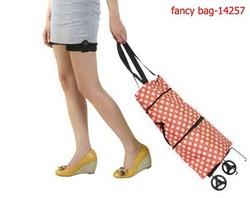 New fashion oxford polka dot shopping trolley bags orange color