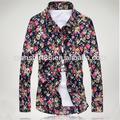 homens 2015 floral impresso camisa ocasional