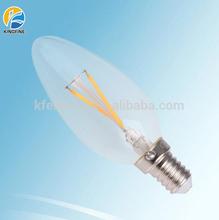 Glass housing led filament bulb candle c35 3w e14