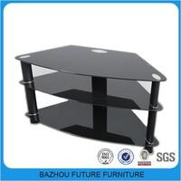 2015 space-saving metal leg glass corner tv stand for sale