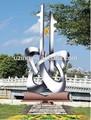 Al aire libre de acero inoxidable de la escultura del paisaje de arte abstracto estatua- llave a los conocimientos