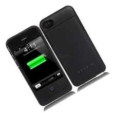 Black Power Bank Black Backup External Battery Charger Case 1900mAh for iPhone 4 4G 4S