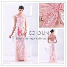 nova chegada sexy ver através de trás moda artesanal talão bordados vestido de festa