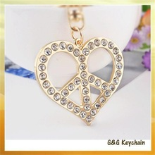 Special Offer Supply Rhinestone Love Leaves Hanging Buckle Key chain Valentine's Day Gift Wholesale Y4154