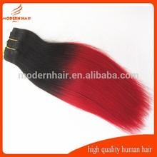 custom made 10-28inch two tone weave 1b / red brazilian hair weft