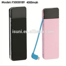 Business style 4000mah new battery slim ultra thin power bank with built-in cable with micro input port