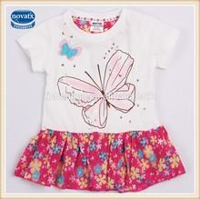 (h3839) ครีม2-6yเสื้อผ้าเด็กnovaแบฤดูร้อนพิมพ์ผีเสื้อขายส่งชุดสาวเด็กสวมใส่