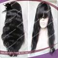 Venta caliente negro pelucas de pelo, Parte media onda hermosa del cuerpo malasio llena del cordón del pelo de la peluca natural de la rayita