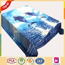blue customized animal print plush fleece carving designs printed dolphin mink blanket