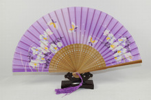 purple bamboo foldable hand fans,bamboo printed hand fan,bamboo handicraft products