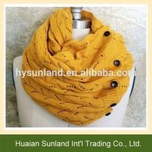 W-983 women girl crochet scarves button knit pattern infinity lace scarf