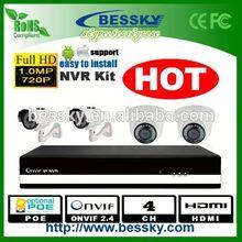 4CH IP amera kit , sport , HD 1MP CCTV IP system ( Bessky factory )