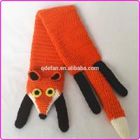 Cute handmade crochet baby scarf knitted baby neck scarf crochet fox scarf