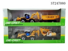 2015 New Arrival ! 2 Ass'1:43 pull back die-cast engineering van toys with carriages /music / lights