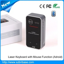 New and hot selling Mini bluetooth wireless laser keyboard with mouse function for Iphone6, samsung, all phones....