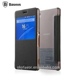 Baseus original primary color case series flip leather cover for sony experia z3
