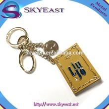 Mode métal porte-clés avec crochet et revêtement de couleur Tag avec strass