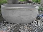 Large decorative basalt carving garden planter, garden flower pot