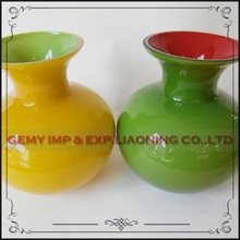 home decorative cheap modern yellow color art glass vase