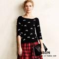 Euro fácil de moda suéter de ganchillo a mano blanco patrón de punto personalizada suéter