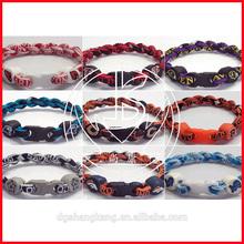 factory supply stock cheap men 2 rope titanium sports NCAA teams bracelet