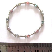 Silver bamboo shape bracelet covered colorful beads bracelet jewelry