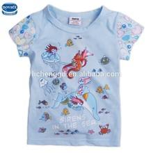 (K2331)Blue 2-6Y nova kids wear summer baby girl t shirt short sleeve wholesale children t shirts