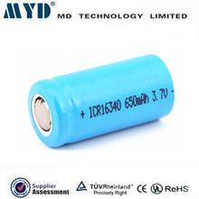 Lithium ion 650mah 3.7v 16340 cylindrical battery