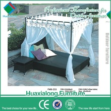 Outdoor garden PE rattan day bed with canopy out door furniture garden FWB-233-1
