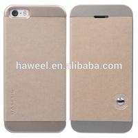 Unique Splice Folio Leather Shell Case for iPhone 5s(Champagne Gold)
