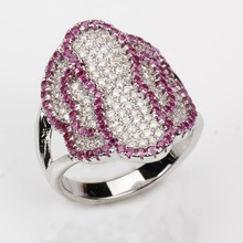 Latest design wedding ring, 925 sterling silver ring with amethyst and white glass stones, wholesale rings, supplier