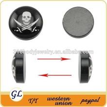 ES02434 acrylic skull epoxy jewelry ear piercing magnetic jewelry