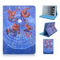 Cartoon Spider-man TPU+PU Leather Case For Apple iPad 2/3/4, Folio Stand PU Cover For iPad air 1/2, Flip Case For iPad mini1/2/3