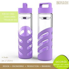Fashion Portable Borosilicate Glass Sport Outdoor Water Bottle With Fruit Infuser