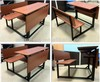 school table bench, wooden bench table set, wooden 2 seat bench with table