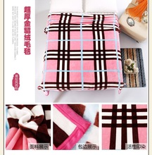 Comfortable and warm two side brushed Korean style Pink Grid Blanket flannel fleece blanket