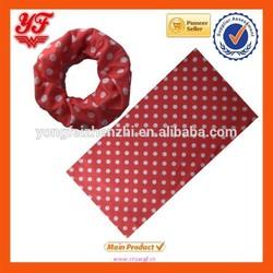 2015 Fantastic red&white dots designed seamless tube headwear