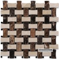 Polished brown basket weave tile kitchen backsplash tile mosaic irregular shape tile