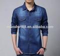 2015 nueva llegada de dril de algodón de los hombres camisa casual, pantalones vaqueros para hombre de la camisa