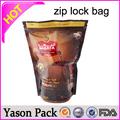 Yason claro ldpe zip alimentos loc/con cremallera de plástico de embalaje bolsa clara de pie con cremallera paquete de papel de aluminio bolsas de plástico para el paquete de té de precaución