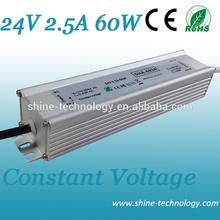 Guangdong slim constant volt led driver 24v 12v, 12v 24v auto switching led power driver 60w