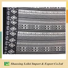 Black/White Stripe Polyester Peach Skin Fabric