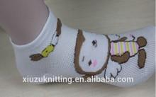 cartoon monkey lovely thick white ankle sock for girl