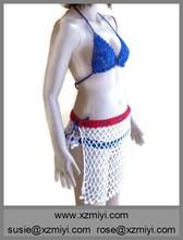 hecho a mano de la bandera americana conjunto bikini y ganchillo falda del abrigo de pareo de ganchillo traje de baño bikini de encaje a mano bikini