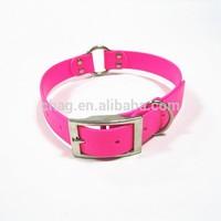 pink pvc pet dog collar with metal circle accessories
