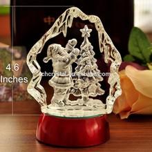 Crystal Christmas Father Trees Iceberg Design Figure Light Base Gift MH-TF0119